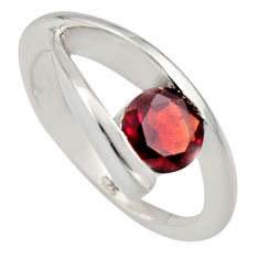 1.56cts natural red garnet 925 sterling silver solitaire ring size 5.5 r6555