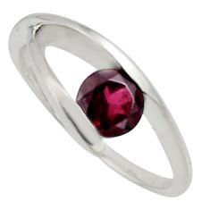 925 sterling silver 1.56cts natural red garnet solitaire ring size 7.5 r6557