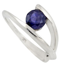 1.48cts natural blue iolite 925 sterling silver solitaire ring size 6.5 r6558