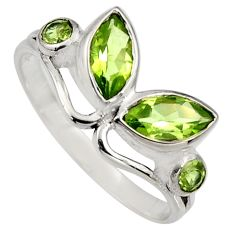 4.53cts natural green peridot 925 sterling silver ring jewelry size 7 r6568