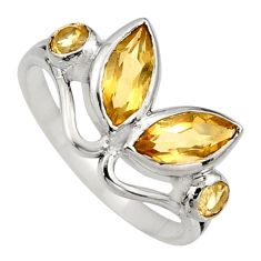 4.53cts natural yellow citrine 925 sterling silver ring jewelry size 8.5 r6572