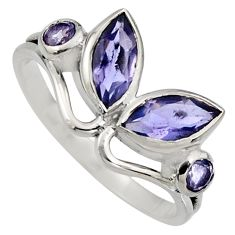 4.53cts natural blue iolite 925 sterling silver ring jewelry size 7 r6580