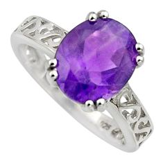 4.67cts natural purple amethyst 925 silver solitaire ring jewelry size 8.5 r6582