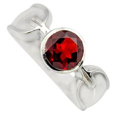 2.63cts natural red garnet 925 sterling silver solitaire ring size 7.5 r6605
