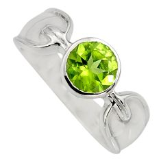 2.68cts natural green peridot 925 sterling silver solitaire ring size 8 r6610