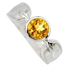2.51cts natural yellow citrine 925 sterling silver solitaire ring size 6.5 r6616