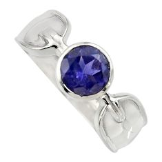 925 sterling silver 2.69cts natural blue iolite solitaire ring size 8.5 r6617
