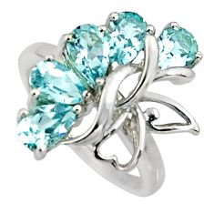 925 sterling silver 5.12cts natural blue topaz ring jewelry size 5.5 r6620