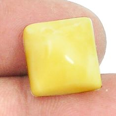 Natural 3.95cts amber bone white cabochon 12x12 mm square loose gemstone s1205