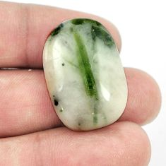 Natural 27.25ct tourmaline in quartz green cabochon 27x19mm loose gemstone s1465