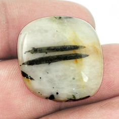 Natural 26ct tourmaline in quartz green 22x22mm cushion loose gemstone s1467