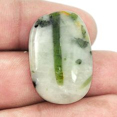 Natural 25.60cts tourmaline in quartz green 28x18 mm loose gemstone s1468