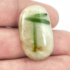 Natural 26.10ct tourmaline in quartz green cabochon 29x17mm loose gemstone s1477