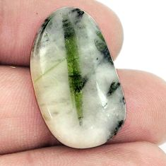 Natural 18.70ct tourmaline in quartz green cabochon 26x16mm loose gemstone s1480