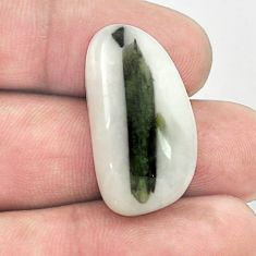 Natural 25.80ct tourmaline in quartz green cabochon 27x15mm loose gemstone s1489
