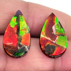 ammolite triplets cabochon 20x11mm pair loose gemstone s15221