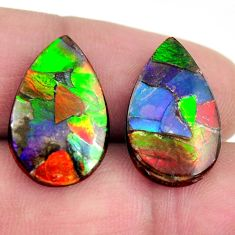 Natural 11.30cts ammolite triplets cabochon 19x12mm pair loose gemstone s15222