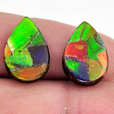 Natural 11.30cts ammolite triplets 16x11 mm pair loose gemstone s15230