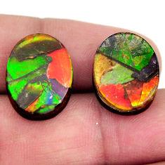 Natural 15.10cts ammolite triplets 17x12.5 mm pair loose gemstone s15234
