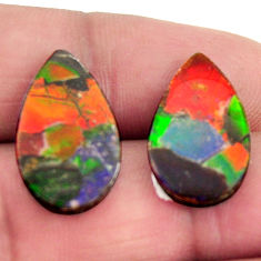 Natural 11.20cts ammolite triplets 20x11.5 mm pair loose gemstone s15235