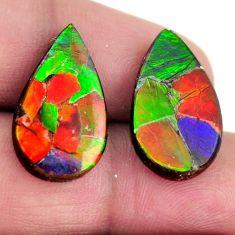 Natural 15.10cts ammolite triplets 20x12 mm pair loose gemstone s15236
