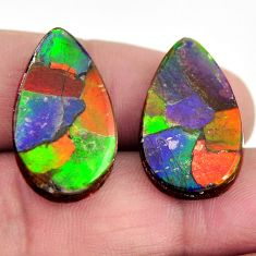Natural 22.35cts ammolite cabochon 23.5x13.5mm pair loose gemstone s15237