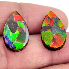 Natural 13.45cts ammolite triplets cabochon 20x12 mm pair loose gemstone s15240