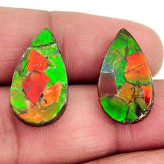 Natural 14.35cts ammolite triplets 20x12 mm pear pair loose gemstone s15242