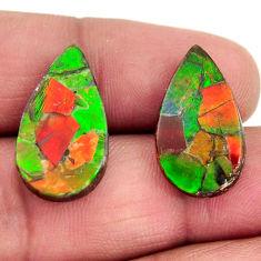 ammolite triplets 20x12 mm pear pair loose gemstone s15242