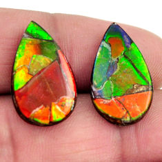 Natural 14.35cts ammolite triplets 20.5x12 mm pear pair loose gemstone s15243
