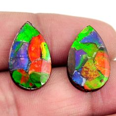 Natural 12.40cts ammolite (triplets ) 20x12 mm pear pair loose gemstone s15246