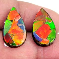 Natural 13.10cts ammolite (triplets ) 20x11.5 mm pear pair loose gemstone s15247