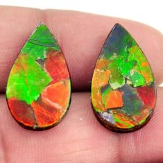 Natural 14.30cts ammolite (triplets ) 20.5x12 mm pear pair loose gemstone s15248