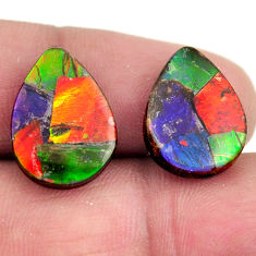 Natural 11.30cts ammolite (triplets ) 16.5x12 mm pear pair loose gemstone s15249