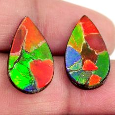 Natural 13.45cts ammolite (triplets ) 20x11.5 mm pear pair loose gemstone s15251