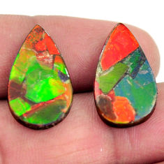 Natural 12.35cts ammolite (triplets ) 20x12 mm pear pair loose gemstone s15253