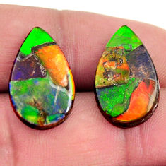 ammolite (triplets ) 20x12 mm pear pair loose gemstone s15254
