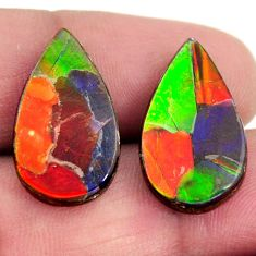 Natural 15.10cts ammolite (triplets) cabochon 20x12mm pair loose gemstone s15257