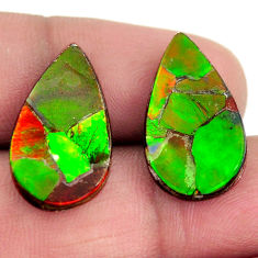 Natural 14.20cts ammolite (triplets ) 20x12 mm pear pair loose gemstone s15259