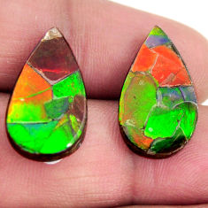 Natural 14.45cts ammolite (triplets ) 20x11 mm pear pair loose gemstone s15260