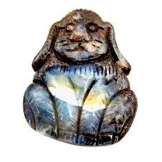 Natural 25.15cts boulder opal carving 26x20 mm dog charm loose gemstone s15404