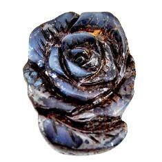 Natural 18.40cts boulder opal carving brown 21x16mm flower loose gemstone s15425