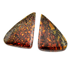 Natural 28.45cts dinosaur bone fossilized 26x17 mm pair loose gemstone s15497
