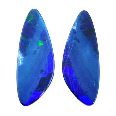 Natural 9.35cts doublet opal australian blue 23x8 mm pair loose gemstone s15564