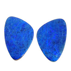 Natural 5.10cts doublet opal australian blue 15x9 mm pair loose gemstone s15568