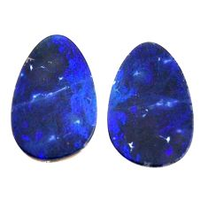 Natural 8.10cts doublet opal australian blue 16x10 mm pair loose gemstone s15576