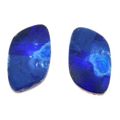 Natural 6.30cts doublet opal australian blue 15x9 mm pair loose gemstone s15582
