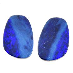 Natural 8.10cts doublet opal australian blue 16x10 mm pair loose gemstone s15585
