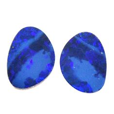 Natural 5.10cts doublet opal australian blue 13x9 mm pair loose gemstone s15589