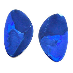 Natural 6.35cts doublet opal australian blue 16.5x9mm pair loose gemstone s15590